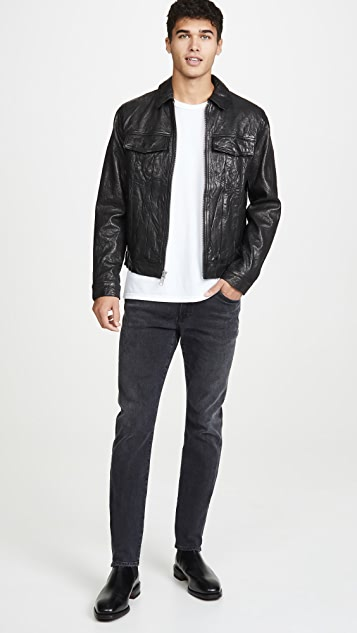 FRAME Leather Trucker Jacket