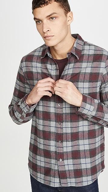 FRAME Brushed Plaid Button Down Shirt