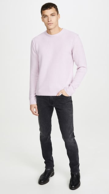 FRAME Seamed Cashmere Crew Neck Sweater