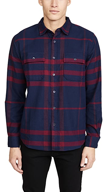FRAME Refined Plaid Button Down Shirt