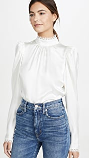 FRAME Lace Cuff Top