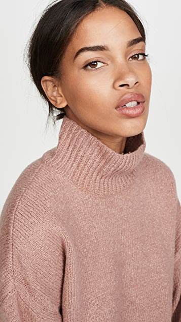 Frame Knits Side Slit Mock Neck Sweater