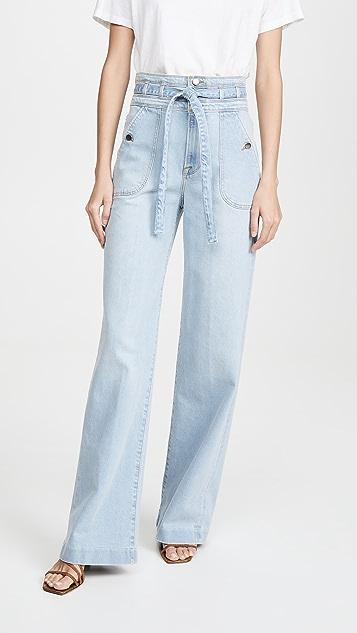 FRAME Ali Wide Leg Triple Waist Tie Jeans