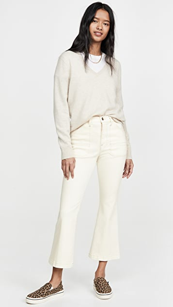 FRAME Carpenter Color Crop Flare Jeans