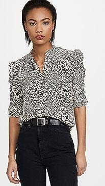 Shirred Sleeve Button Up Shirt