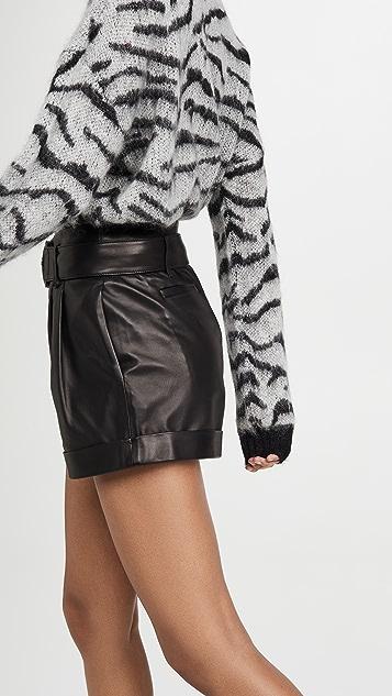 FRAME Paperbag Leather Shorts