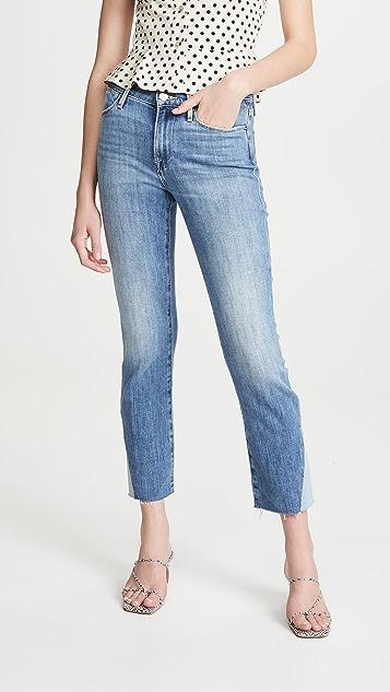 FRAME Le 侧边三角形胯下拼接毛边高腰直脚牛仔裤