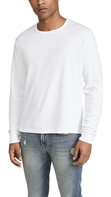 FRAME Long Sleeve Quilted Crew Neck T-Shirt