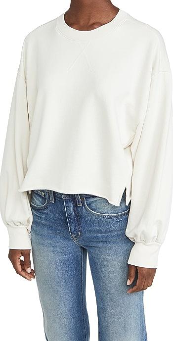 FRAME Easy Shirtail Sweatshirt - Winter White