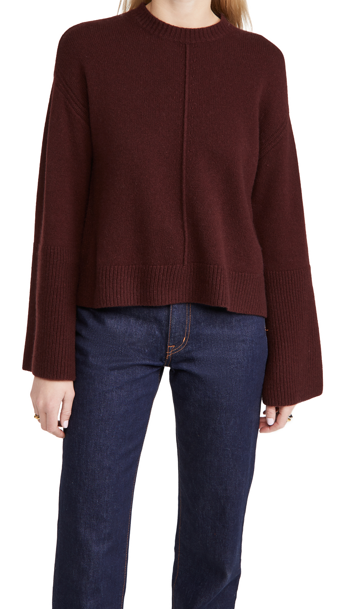 FRAME Bell Sleeve Crew Cashmere Sweater