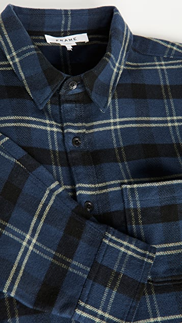 FRAME Long Sleeve Check Single Pocket Shirt