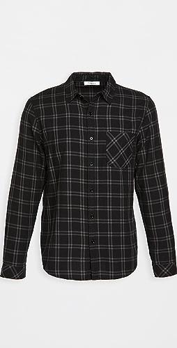 FRAME - Long Sleeve Plaid Single Pocket Shirt