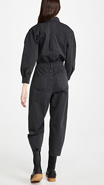 FRAME Pleated Barrel Leg Jumpsuit
