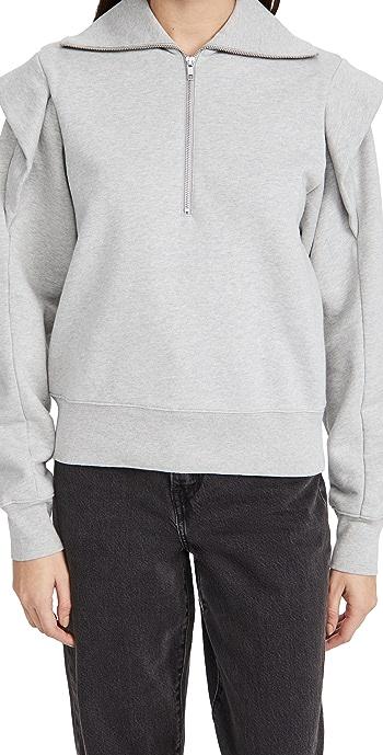 FRAME Sporty Zip Sweatshirt - Gris Heather