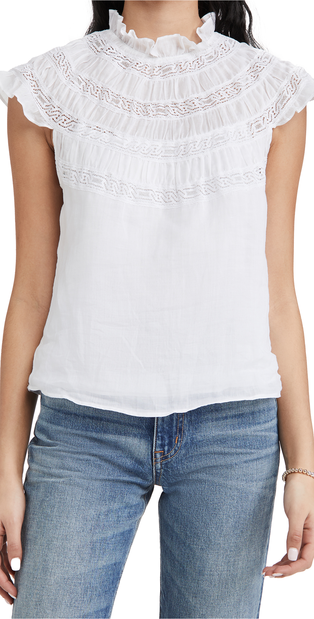 Frame Denims LACE INSET SHORT SLEEVE