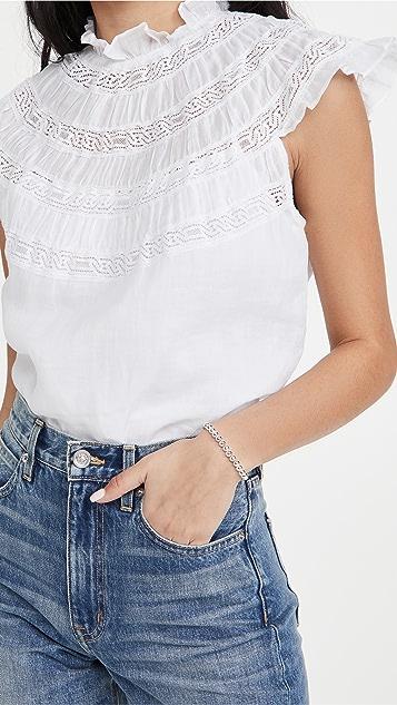 FRAME Lace Inset Short Sleeve