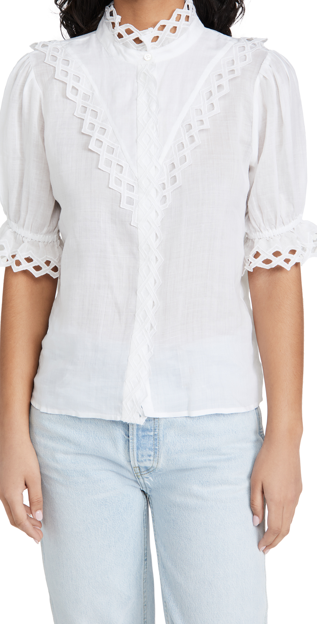 Frame Tops EMBROIDERED HIGH NECK TOP