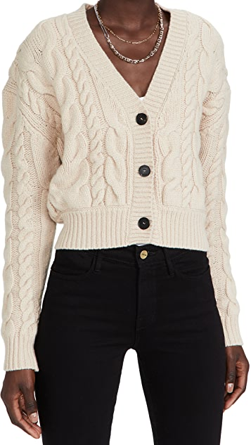FRAME Cable Button Down Cardigan