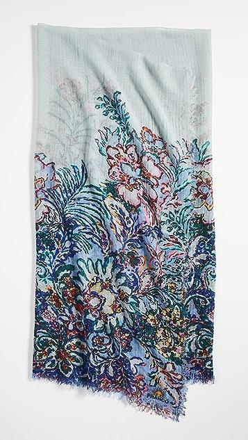 Franco Ferrari 浅蓝色花卉镶边围巾
