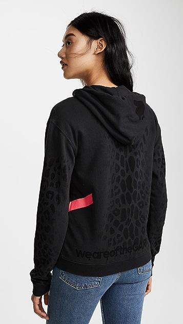 FREECITY Leopard Print Sherpa Zip Hoodie Top
