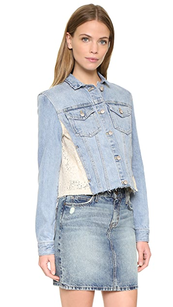 Free People Lace Paneled Denim Jacket