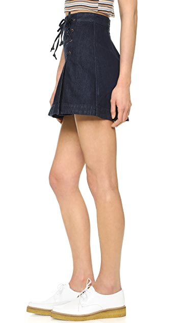 Free People Denim Lace Up Skirt