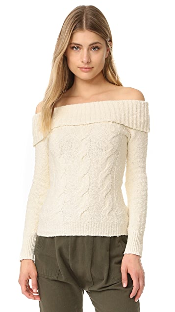 Free People Cable Fold Over Sweater