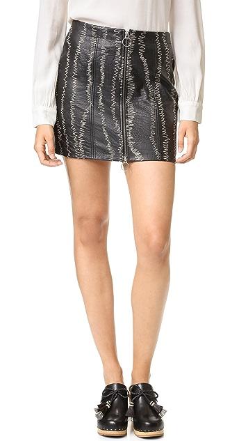 Free People Obsessed Leather Miniskirt
