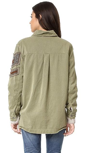 Free People Embellished Military Shirt Jacket