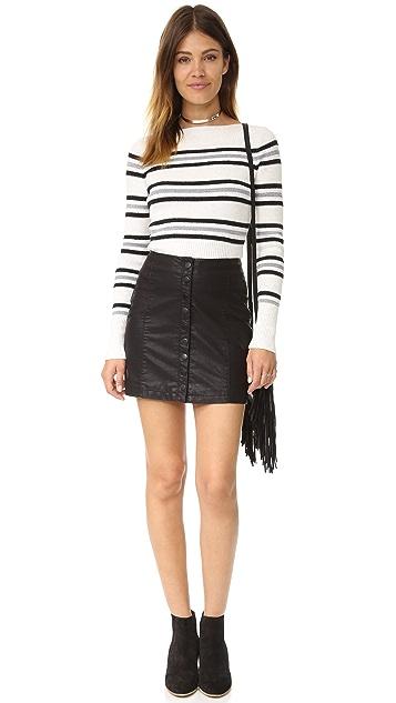 Free People Oh Snap Vegan Leather Miniskirt