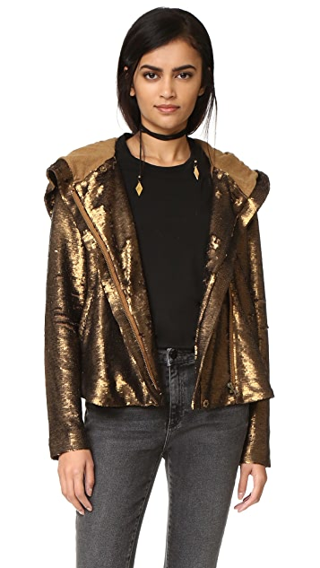 Alexandra Peplum Jacket JG The Alexandra Collection Peplum Metallic Jacket offers a striking, flattering peplum silhouette with zipper front. Versatile. Looks great over a sequin bra top or leotard! Adult Sizes. Fabric: poly/nylon/spandex combination.