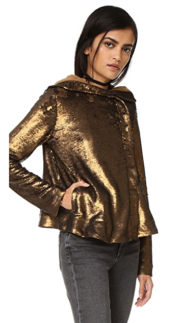 Free People Sequin Hooded Jacket