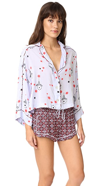 Free People Printed Short Sleep Set