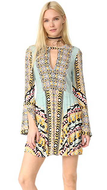 Free People Tegan Border Printed Mini Dress