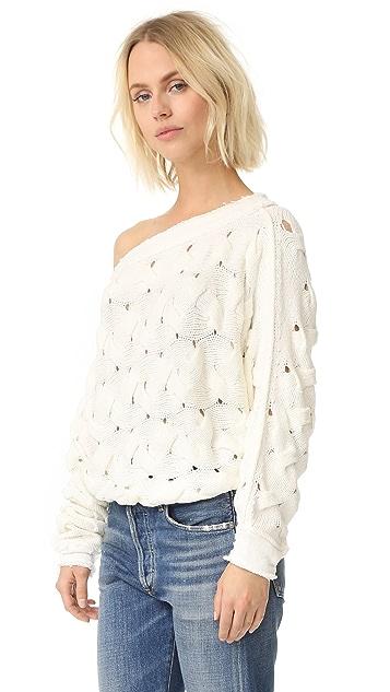 Free People Пуловер с косичками Desert Sands