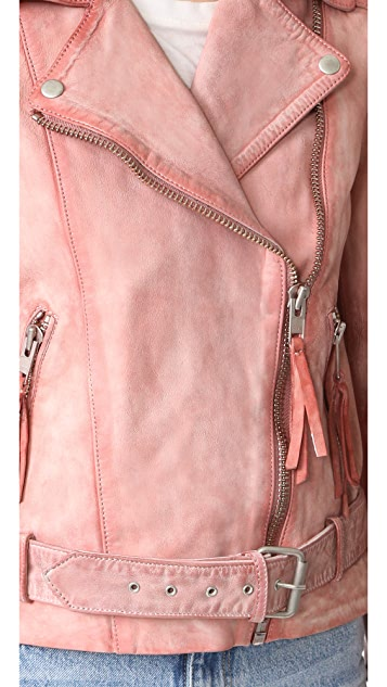 Free People Розовая кожаная байкерская куртка