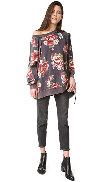 Free People Go On Get Floral Sweatshirt