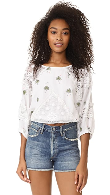 Free People Carolina Mindset Embroidered Top