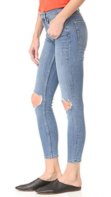 Free People High Rise Busted Skinny Jeans