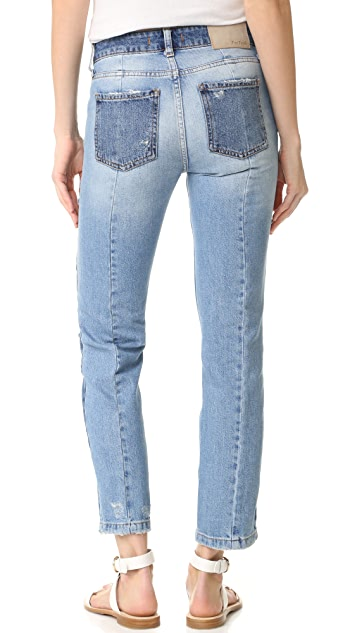 Free People Patchwork Skinny Jeans