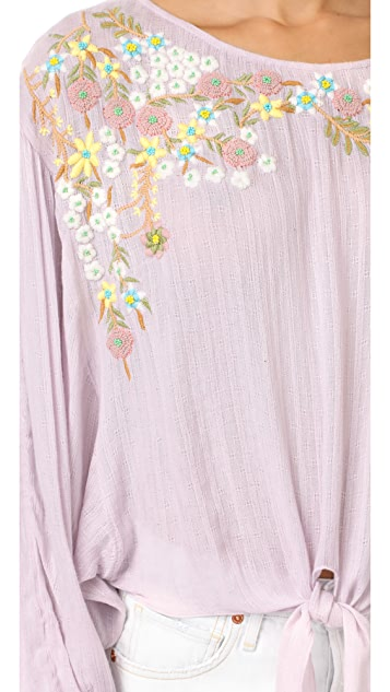 Free People Up And Away Embroidered Top