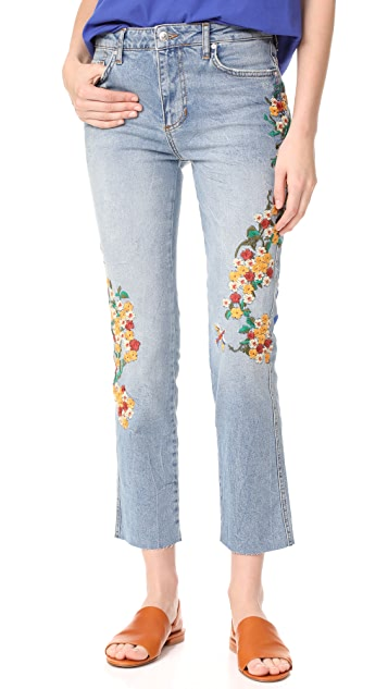 Free People Embroidered Girlfriend Jeans
