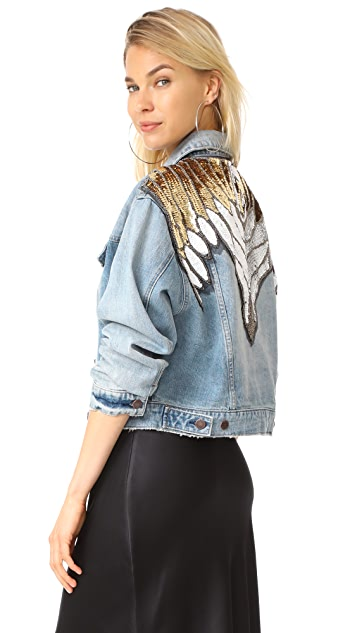 Free People Glam Embellished Denim Jacket