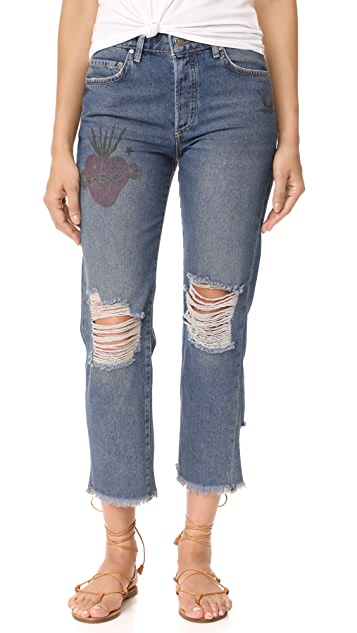 Free People Tattooed Boyfriend Jeans