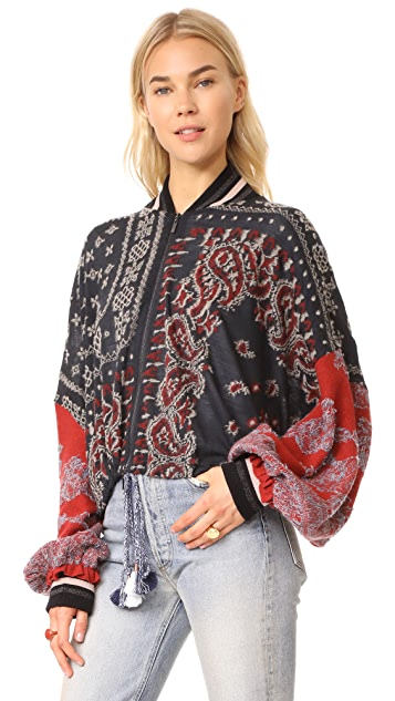 Free People Paisley Pattern Bomber