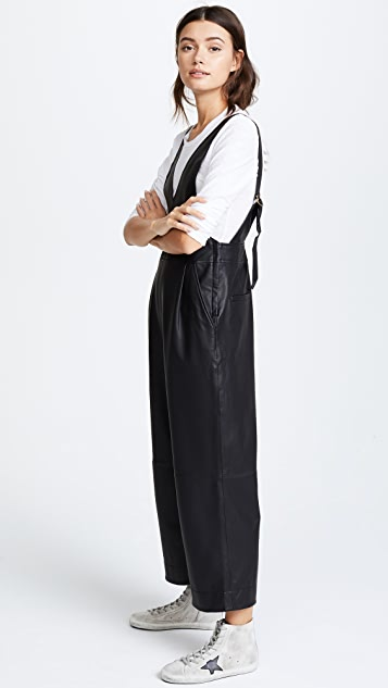 Free People Fiona Vegan Leather Jumpsuit