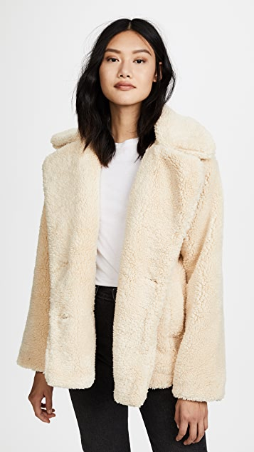 Free People Notched Teddy Pea Coat