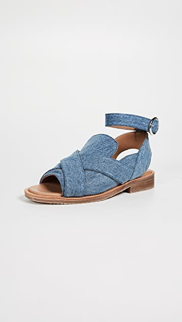 Free People Denim Catherine Loafer Sandals - Washed Denim