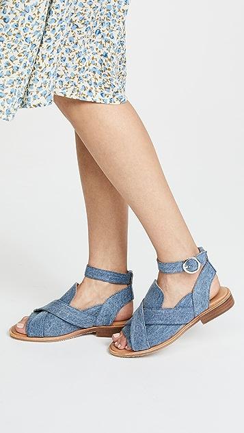 Free People Denim Catherine Loafer Sandals