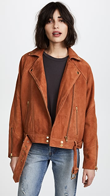Free People Drapey Suede Moto Jacket